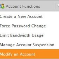 کاربرد گزینه Modify an Account در whm توضیح دهید